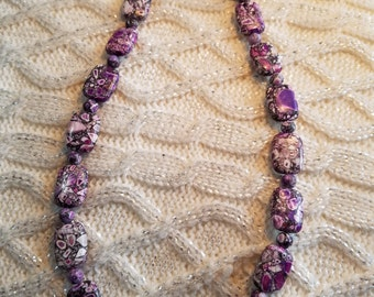 30% OFF NOW Dark Purple Mosaic Beaded Necklace,  21 inches