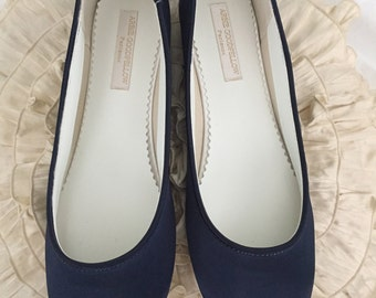 Navy Blue  Flat Shoes - Shoes - Wedding Shoes -  Navy Wedding Shoes - Navy Flats - Navy Wedding Flats - Choose From Over 150 Colors - Ballet