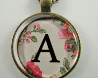 """Initial """"A"""" Necklace -- Spring pattern Personalized Letter A Necklace, Wedding Necklace, Bridesmaid Necklace, Hen Night Necklace, Friendship"""