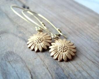 Brass Daisy Earrings Nature Inspired Whimsical Brass Jewelry Flower Jewelry Floral Jewelry Nature Inspired Gold Earrings Gifts Under 20