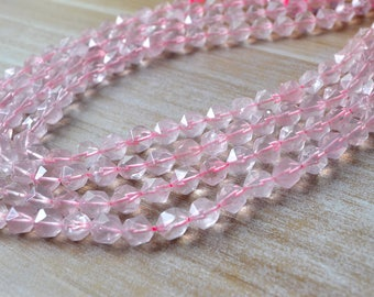 Natural Rose Quartz Beads Faceted Natural Pink Crystal Quartz Beads Healing Crystal