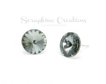 Grey Crystal Earrings Swarovski Rivoli Black Diamond Earrings Sparkly Bridal Bridesmaid Gift Bridal Party Bridesmaid Jewelry Charcoal K010