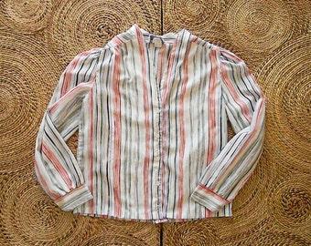 Femmes vintage des années 80 rayé Blouse - bouton de col en v vers le bas de la chemise à manches longues léger