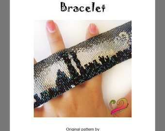 New York Lovers Bracelet - For Personal Use Only PDF Peyote Pattern , skyline bracelet, miyuki delica bracelet tutorial, easy peyote pattern