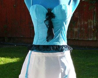 teal boned corset and garter size 34b