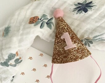 Birthday Party Hat | First Birthday Hat | Glitter Party Hat | Pink Party Hat
