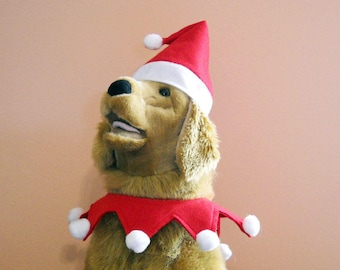 Dog Costume Santa Large Dog Hat and Collar With Optional Bells-  Christmas Costume Made to Order