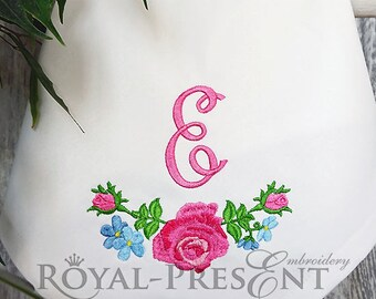 Machine Embroidery Design Garland of Pink Roses - 3 sizes