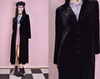90s Black Velvet Duster/ Large/ 1990s/ Coat/ Jacket