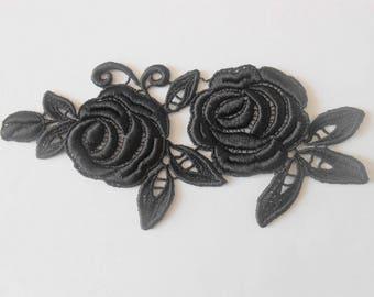 Applique lace black 16 x 7 cm