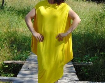 NEW Yellow Kaftan Maxi dress/Plus size dress top/Oversize dress/Plus size dress /Party dress/Assymeric kaftan dress/Top dress/Us Uk  Eu