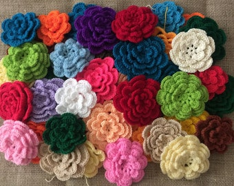 10 mixed soft crochet flowers, mixed size and colors.