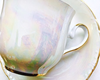 Bavaria Germany Iridescent Opal Porcelain Demitasse Tea Cup and Saucer