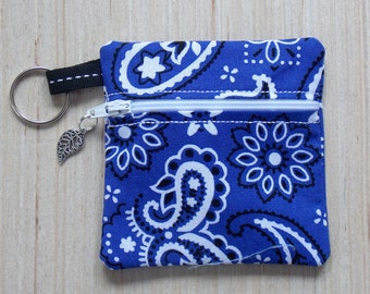Blue Bandana Ear Bud Case - Ear Bud Holder - Earphone Case - Bandana Coin Purse - Blue Bandana Gift - Large Key Chain