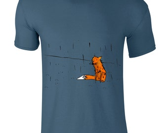 Fox t shirt, unique gift, graphic tee, Artistic gift for him, boyfriend gift, hand painted shirt