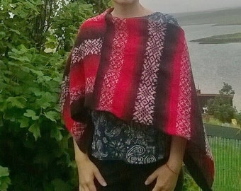 Hand made.Ladies cape, Poncho.Made from 1.ply real Kauni yarn poncho.fair isle motive.Made in Shetland