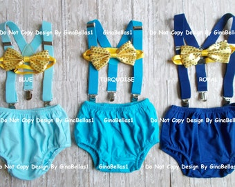 Prince costume cake smash Royal blue Gold I am One Birthday outfit turquoise suspenders diaper cover sequin bow tie 6 9 12 18 24 toddler
