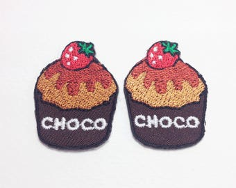 2 pieces choco cupcake Small cupcake iron on patch
