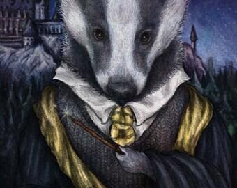 Hufflepuff Mounted Harry Potter Art Print 10 x 8 Badger Ravenclaw Griffindor Slytherin Elspeth Rose Design