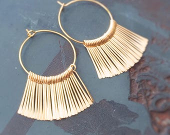 Egyptian Princess Earrings - Gold Fringe - Inspired by Papyrus Fronds and Lux Living - 1970s Disco Princess