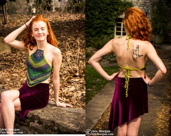 Wonderland - Hand Crocheted Cropped Halter Top - High Neck - Sz Small/Medium