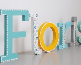 Wooden letter name, Hand painted and decorated wooden letters for nursery/kids room, Wall letters, Alphabet letters, Boy nursery idea