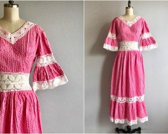 Vintage 1970s Maxi Dress / 70s Long Pink White Lace Boho Mexican Wedding Dress