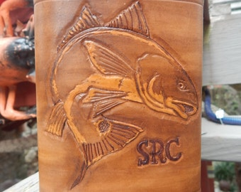 Leather bound Flask with Carved RedFish