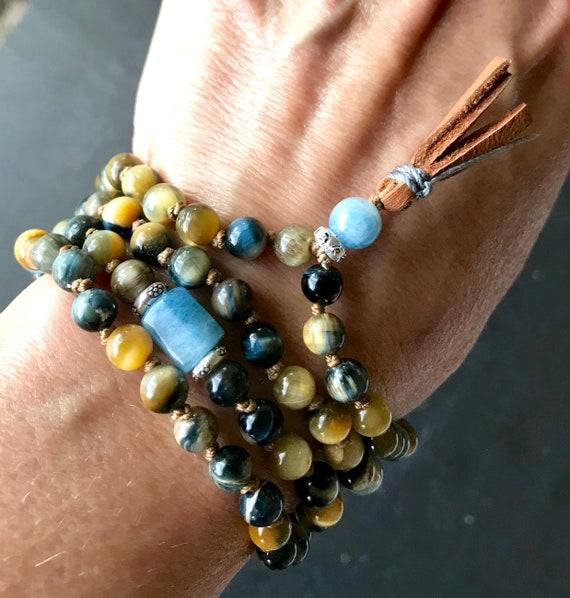 Honey Blue Tiger Eye Mala Beads / Aquamarine Mala Necklace / Boho Mala Beads / 108 Mala Bead Necklace / Tiger Eye Bracelet / Yoga Gift
