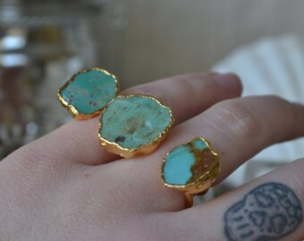 TURQUOISE GALAXY /// Double Finger Ring /// Gold