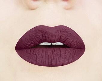 Black Cherry Liquid Lipstick. Plum. Dark. Maroon. Glossy to Matte. Makeup. Cosmetics. Vegan. Cruelty-free. Liquid to Matte.  Vampy. Lips.