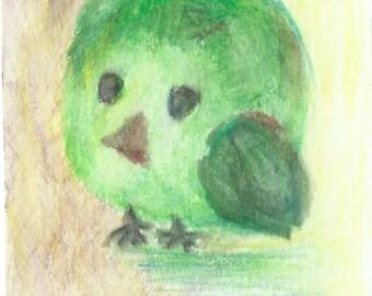 Original ACEO Watercolor Painting - Little Green Bird