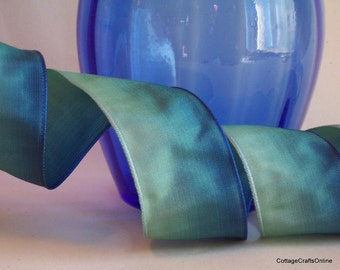 "Wired Ribbon 1 1/2"", Ombre Teal Blue Green, THREE YARD ROLL - Offray Ombre Teal Wired Edge Ribbon"
