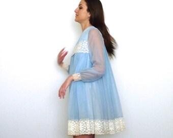 60s Baby Blue Chiffon Lace Trim Trapeze Babydoll Dress xs s