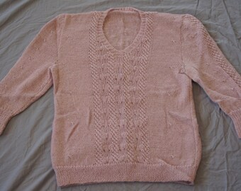 Vintage 1990's - Handknit Cable Knit Sweater
