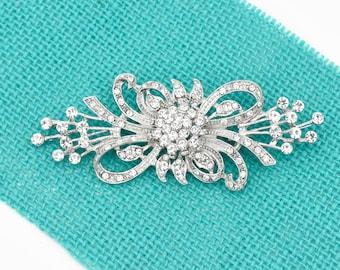 "3.8"" W Silver Brooch, Bridal Brooch, Wedding Brooch, Silver Crystal Brooch, Wedding Gift, Bridal Sash Pin, Brooch For Bouquet."