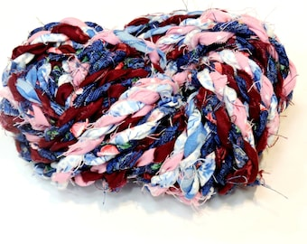 Pink n Blue Rag Rope Art Yarn, Tattered Handspun Fabric Twine, Gift Wrap Ribbon, Hand Twisted Textile Fiber Craft Cord 10 Yds itsyourcountry