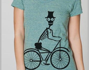 Women's T-shirt Skeleton Biker American Apparel tee shirt S, M, L, XL 8 COLORS 2016 outfit