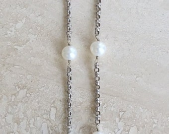 """Gorgeous High End Vintage 14k Rolo Chain Pearl Station Choker Necklace Weighing 6 grams 17"""""""
