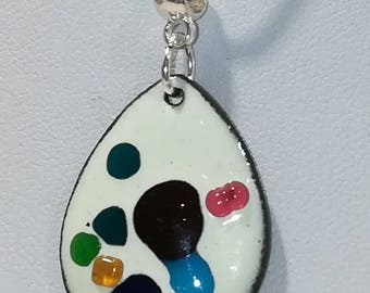 Drop necklace in enamels on copper fire collection of fireworks.