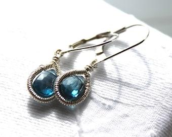 Blue Topaz Earring's -  Teardrop Earrings - Dangle Earrings- Sterling Silver- December Birthstone - Gemstone Jewelry