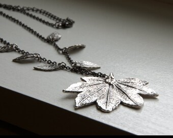 silver leaf necklace -fall jewelry -autumn jewelry -leaf necklace- leaf jewelry - nature jewelry  - silver leaf  charm, alice in wonderland