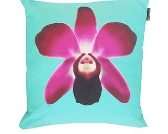 Aqua Home Decor - Aqua Pillow - Aqua Cushion - Aqua Wall Art - Orchid Pillow - Orchid Art - Orchid Cushion - Aqua Pillow Case - Aqua Art
