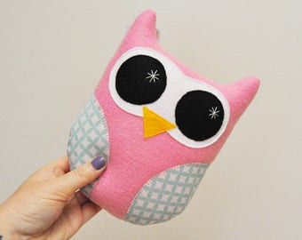 Light Pink Plush Owl With Geometric Print Wings - READY TO SHIP