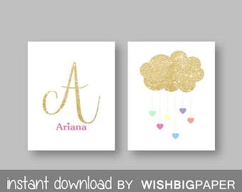 Initial Name Cloud Heart Rain Personalised Bedroom Nursery Wall Art Print - Digital Download- Set Of Two (2). Glitter Name Wall Art. Sets
