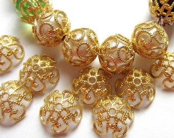 35 Filigree bead caps gold vintage style 8mm  x 2.5mm jewelry making supplies EC128-G (SR7)