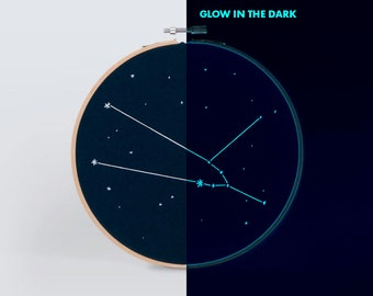 Home decor Taurus constellation embroidery wall hanging art - Glow in the dark Hand-stitched zodiac star sign with phosphorescent thread