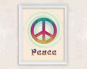 Peace Sign Wall Art  - Poster - Peace Sign Decor - 8x10 PRINT Colorful Art - Peace Print - Item #505-A
