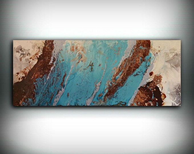 """Art Abstract Painting Acrylic Painting Abstract Art Copper and Blue Painting LARGE Wall Art Home Decor on Canvas by LDawningScott 16 x 40"""""""