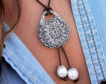 Bohemian Necklace, Bohemian Jewelry, Leather Bohemian Fashion Jewelry, Bohemian Chic Style, Bohemian Silver Jewelry, Boho Leather Necklace
